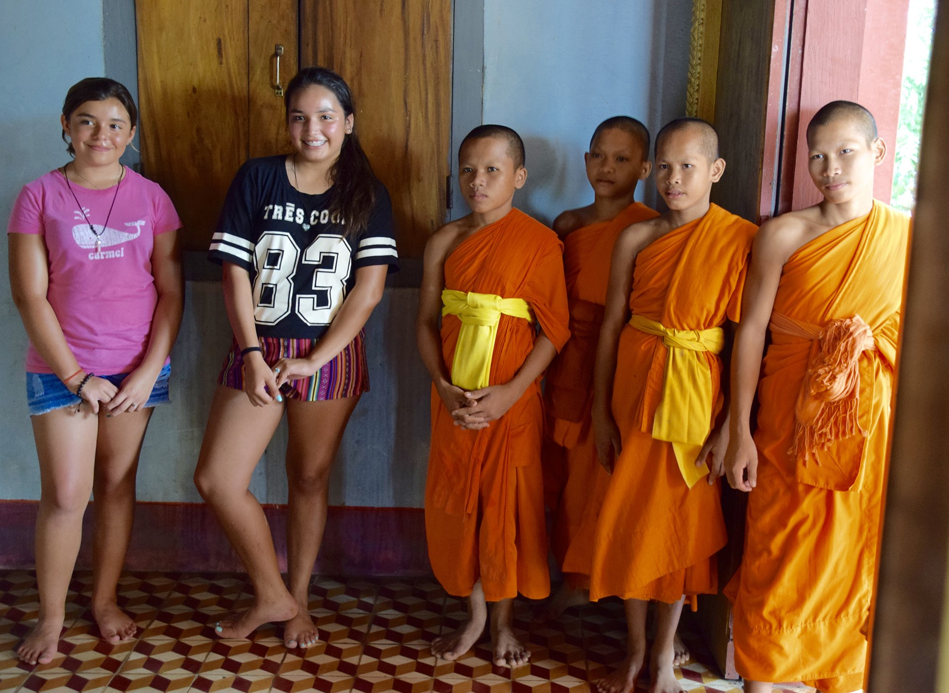 Ava, Sophia and their new buddies at the Monastery
