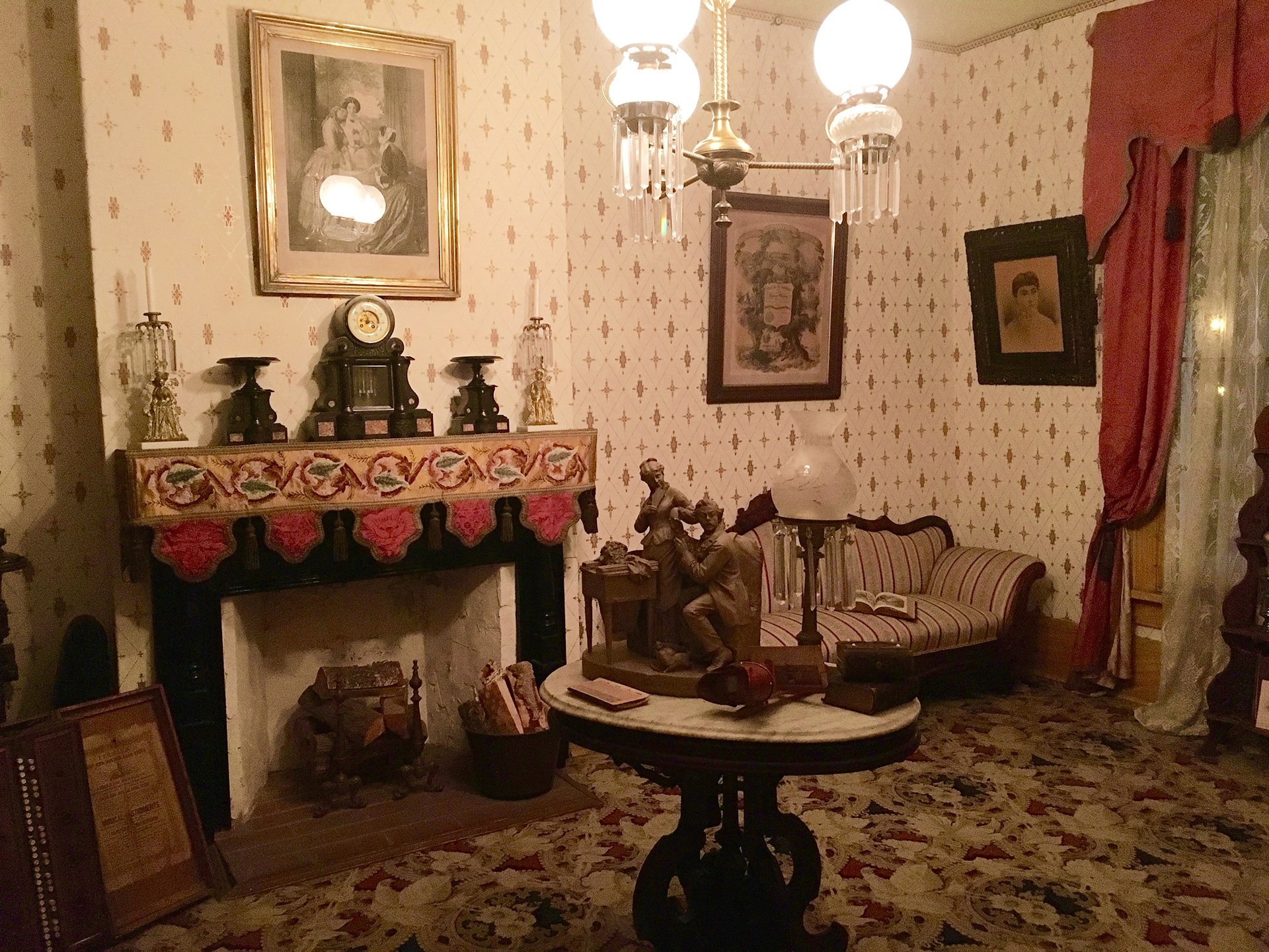 The Whaley House haunted tour is definitely spooky, like this hideous living room decor for example