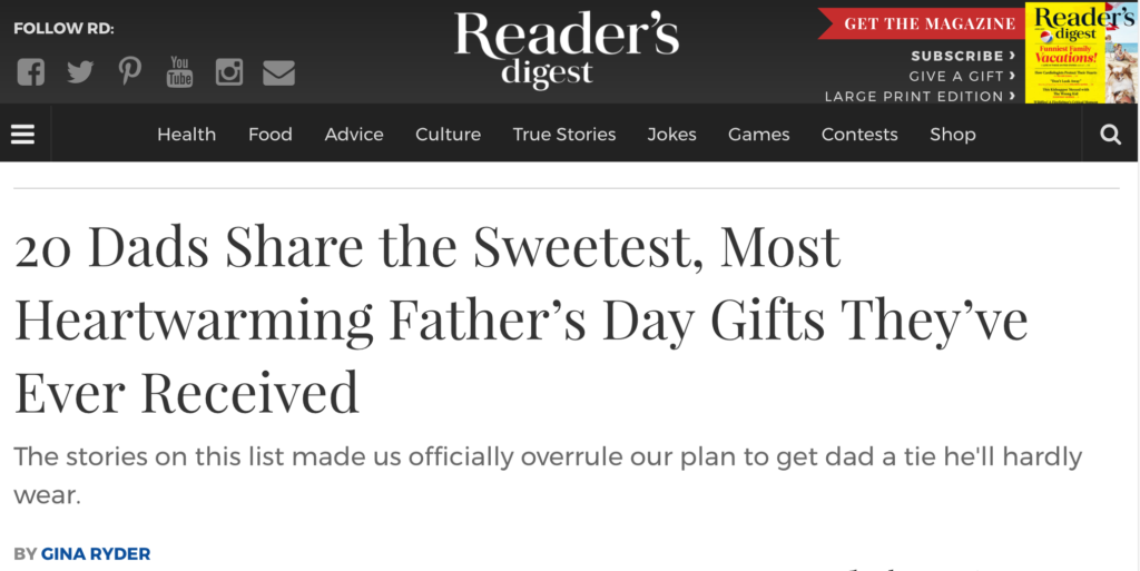 Reader's Digest & 2DWB On Father's Day