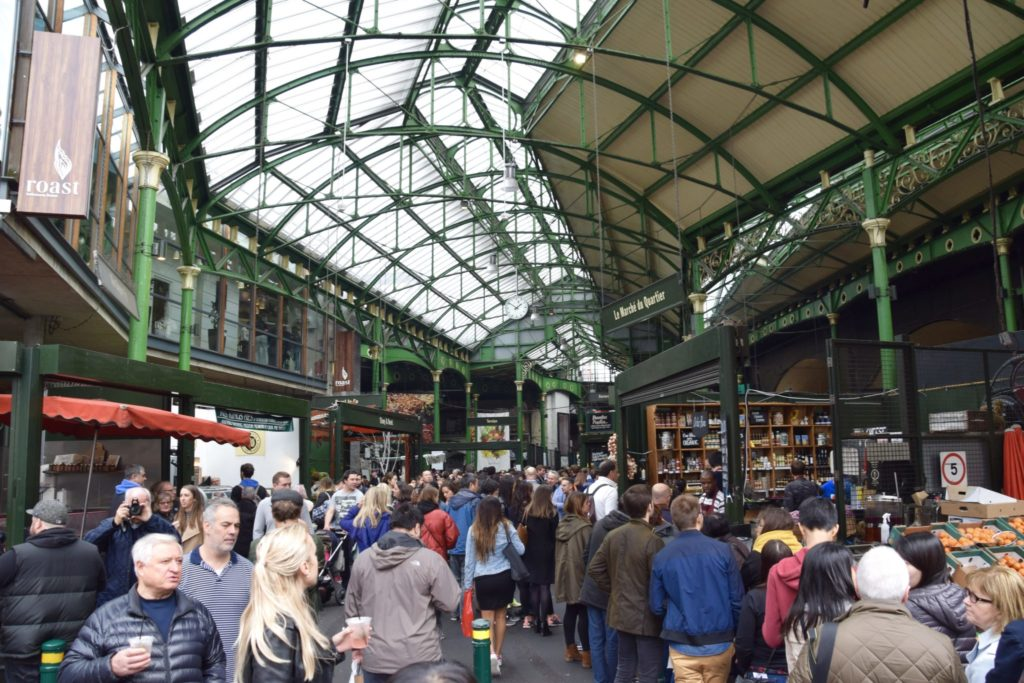 Busy Borough Market at London Bridge