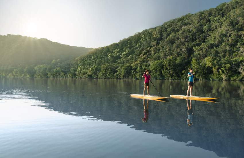 Standup Paddle Boarding at Lake Austin Spa Resort.