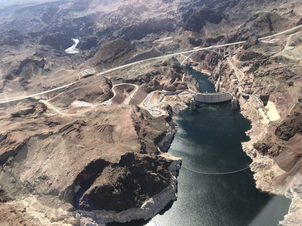 Lake Mead and Hoover Dam from above