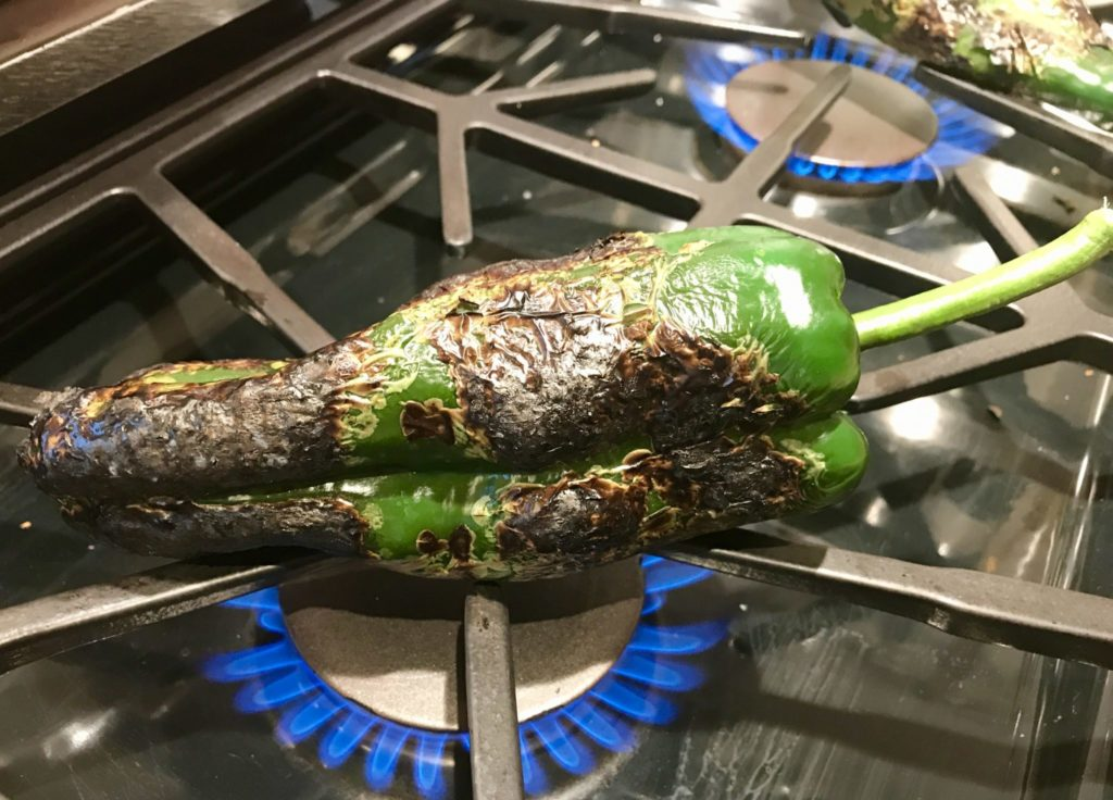 poblano chiles on the grill