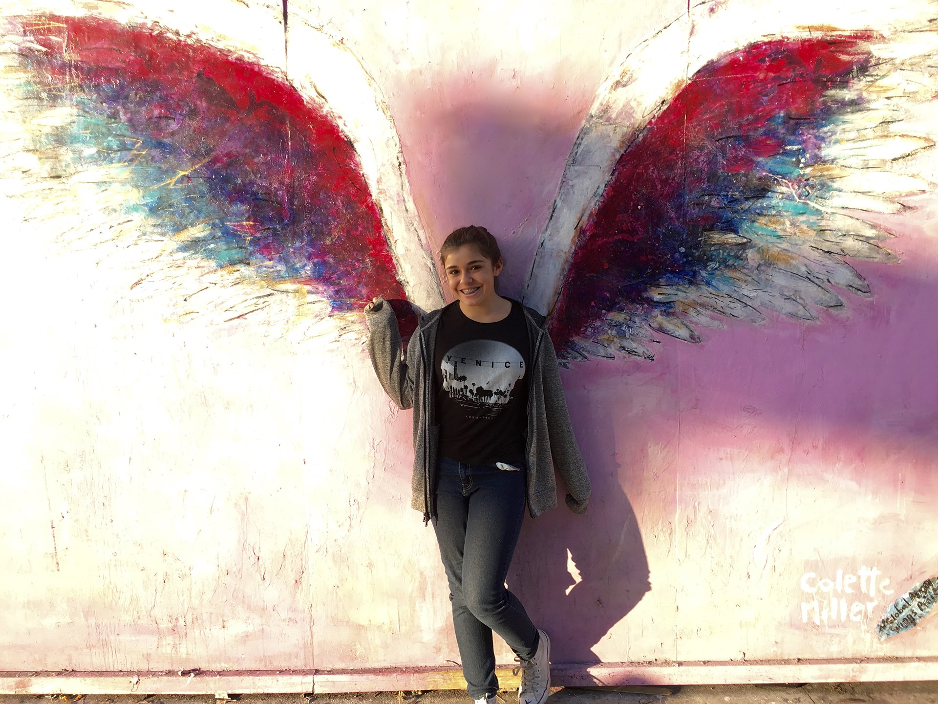 The famous angel wings mural did not disappoint. We must have tried 80 poses per girl.