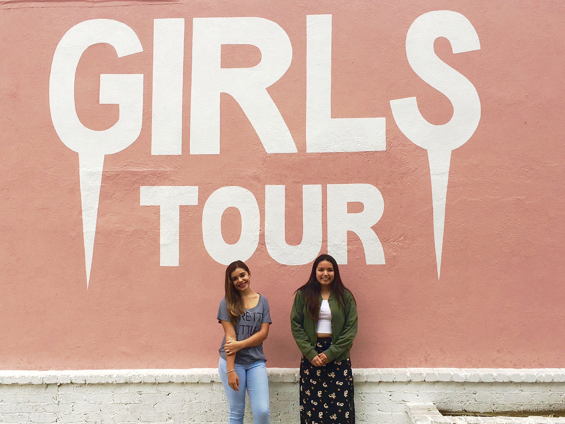 Somehow a photo of the girls with this mural seemed appropriate.