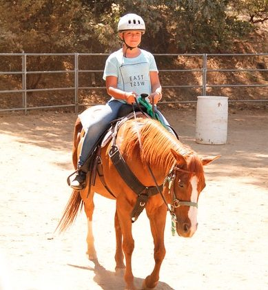 Ava learns the fine equestrian arts at Camp Raintree in Julian, CA