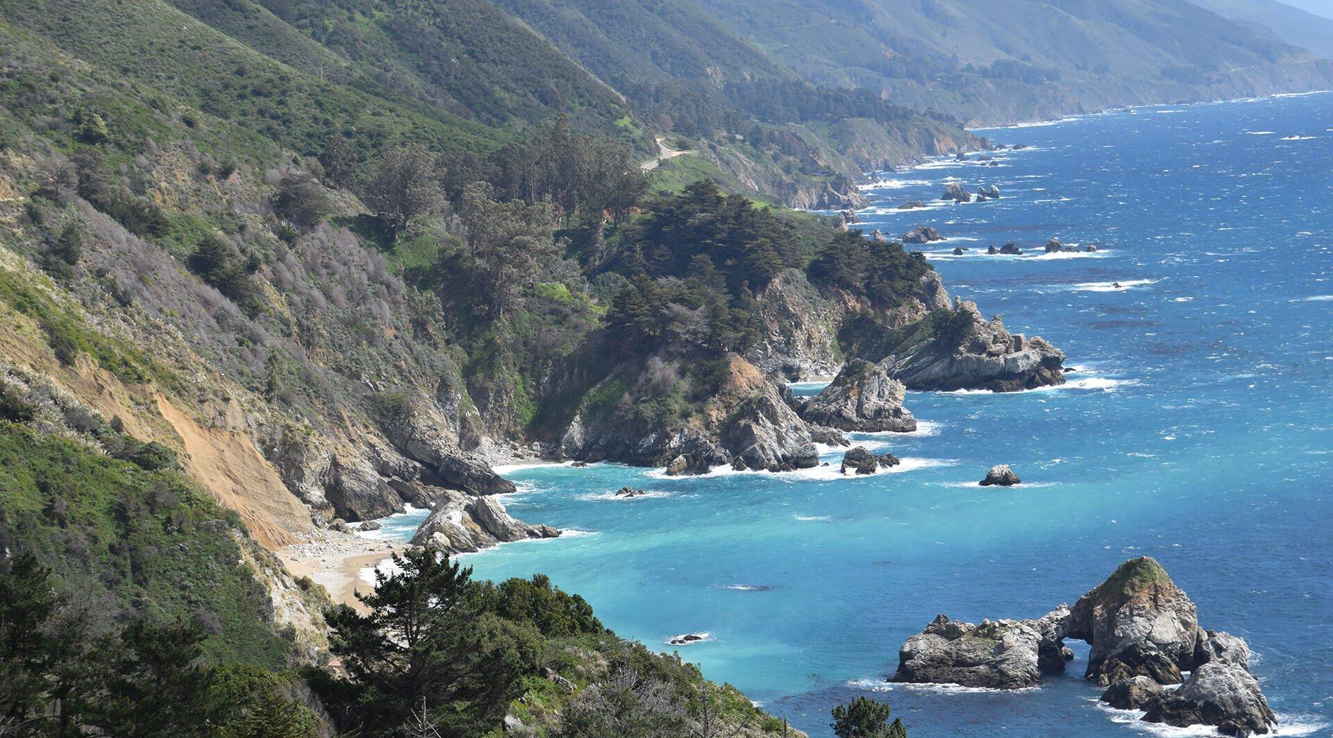 Craggy California coastline near Big Sur, California