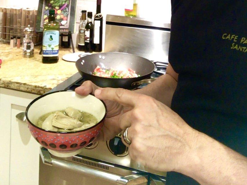 marinated artichoke hearts in shrimp scampi