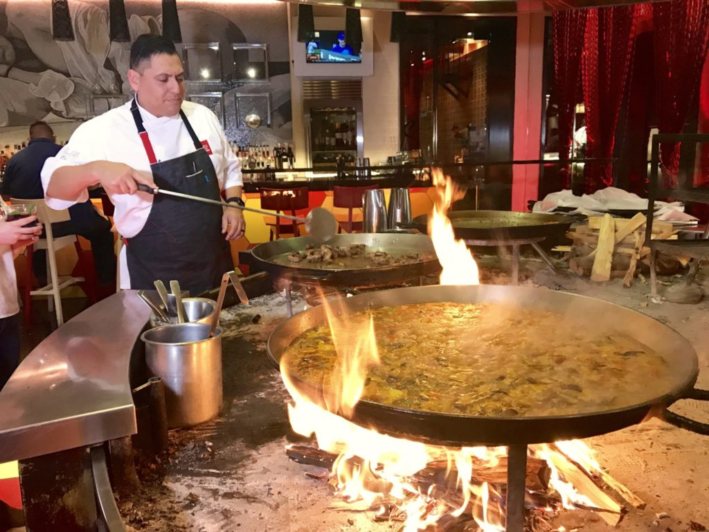 Paella cooks in huge pans at Jaleo