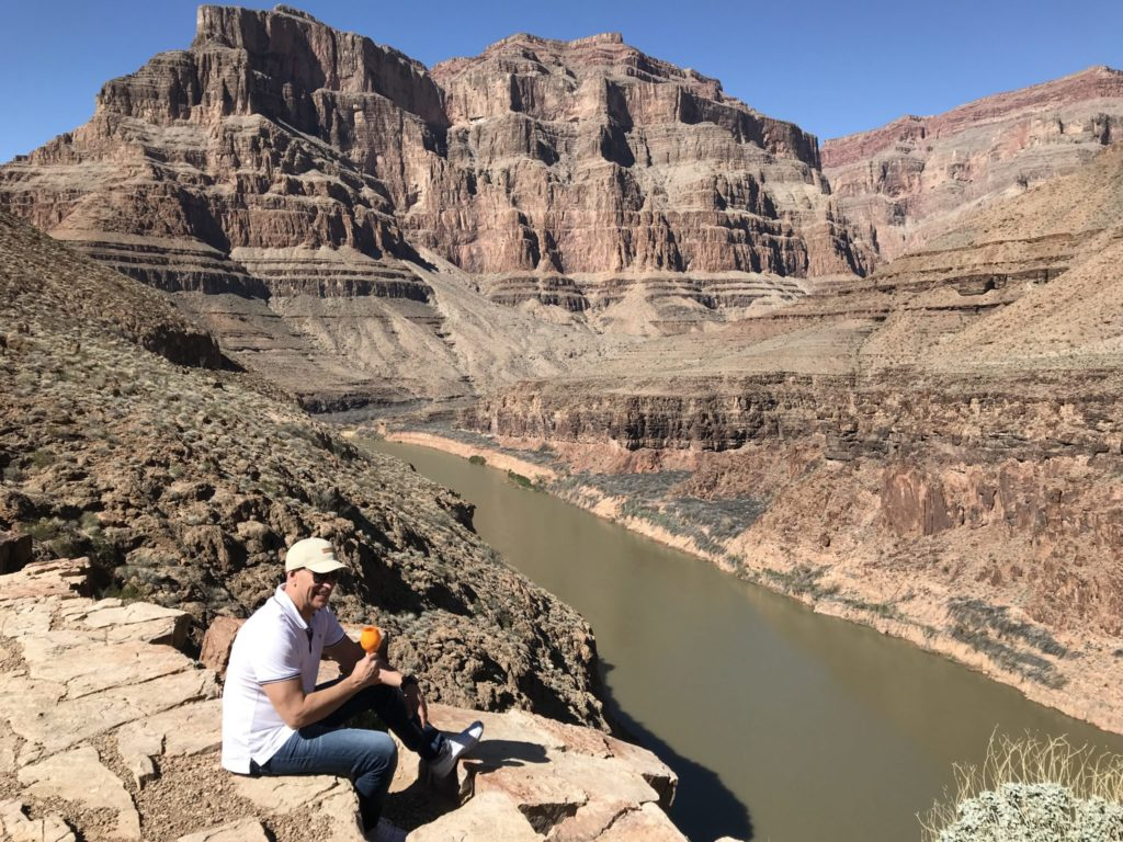 Drinking Veuve by the Grand Canyon