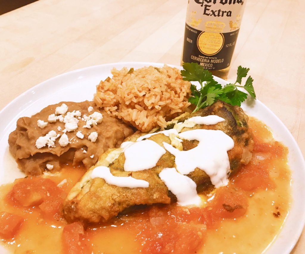 Corona Extra served with homemade chile rellenos