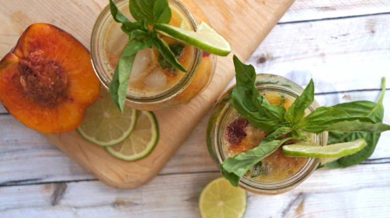Nectarine and Basil Mojitos