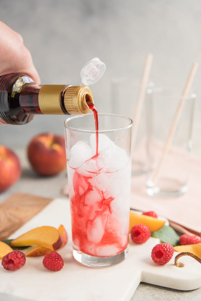 Raspberry Peach Italian Cream Soda recipe