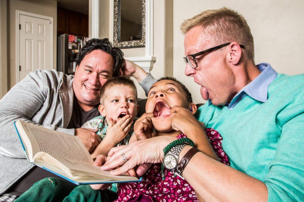 LGBTQ families reading books