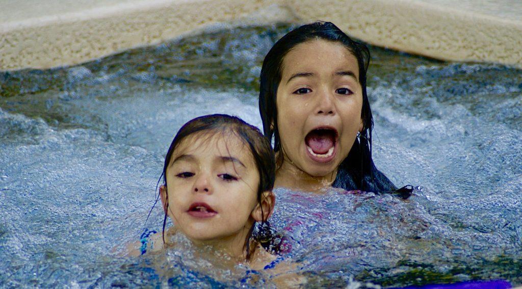 girls in hot tub
