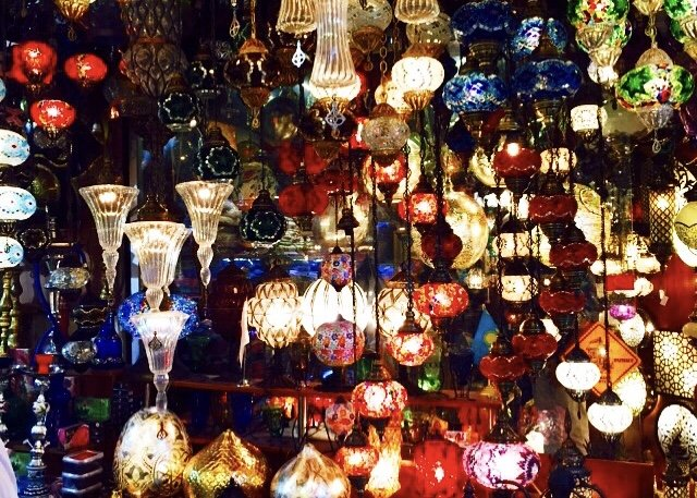 Grand Bazaar Istanbul colorful Turkish lanterns