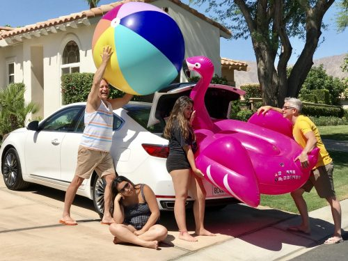 Palm Springs pool toys in car