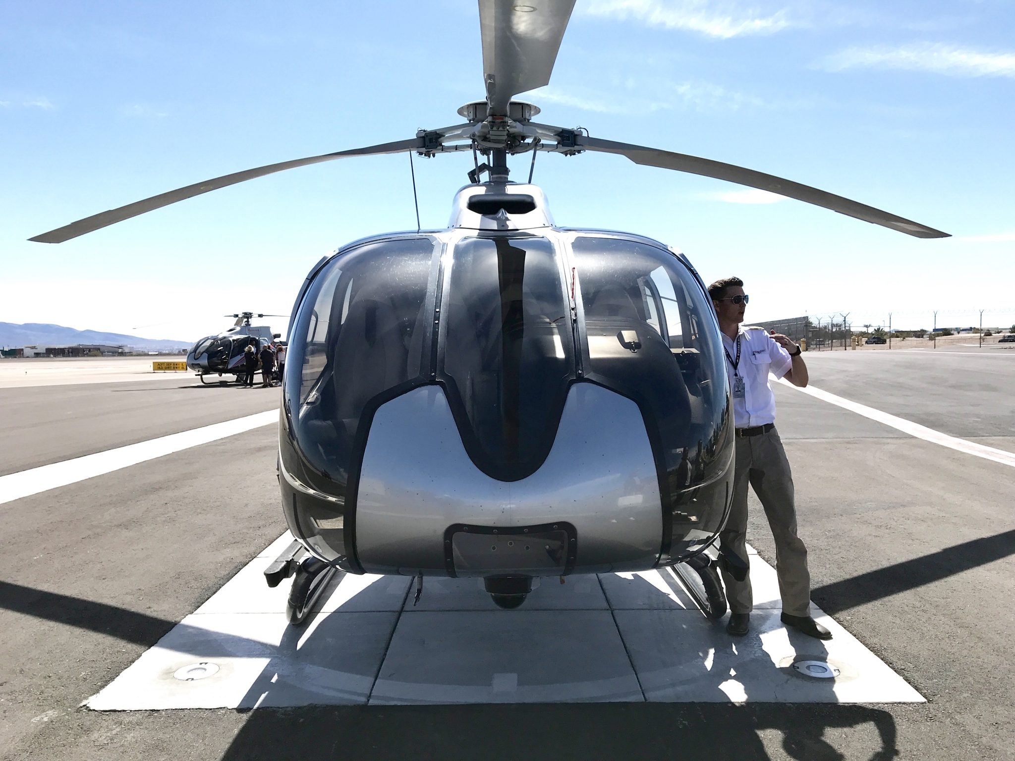 front of helicopter in Las Vegas
