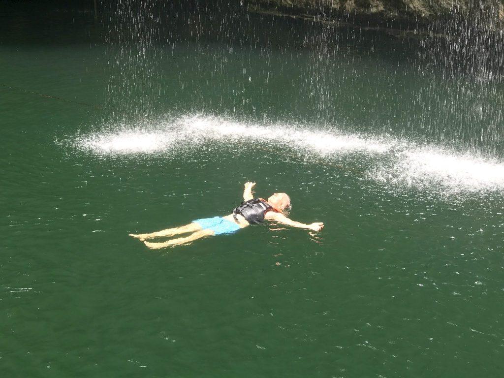 floating in Sa'amal Cenote near Chichen Itza