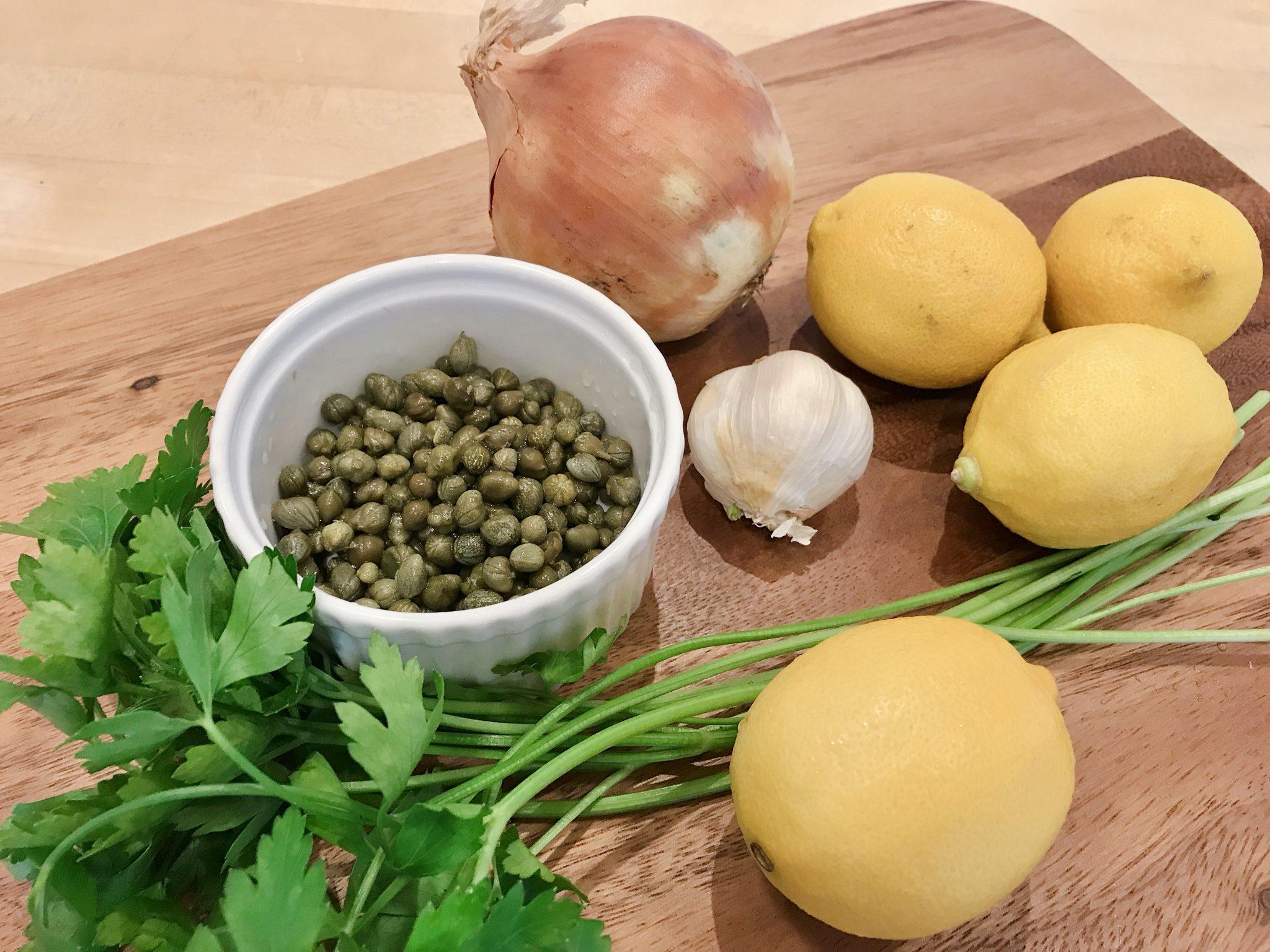 Fresh ingredients for chicken piccata