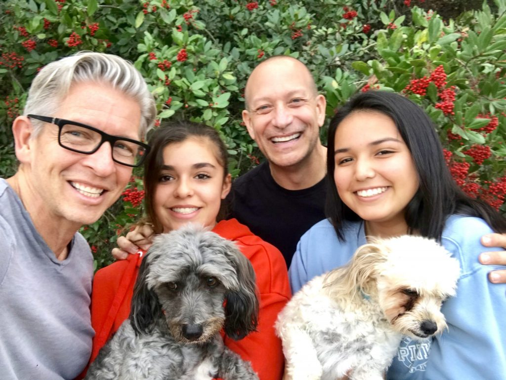 gay family with dogs