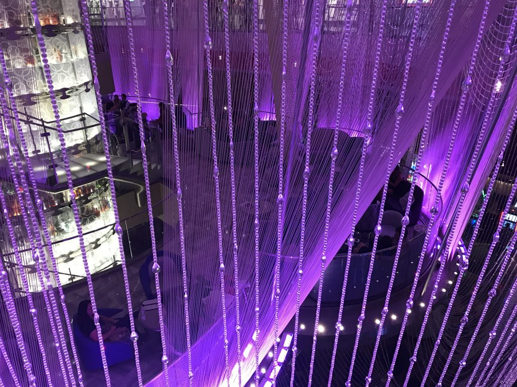 crystal drapes at Chandelier Bar Las Vegas