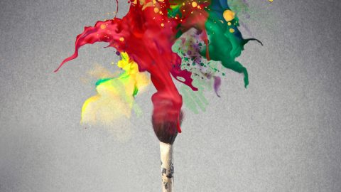 paint brush with multi-color paint