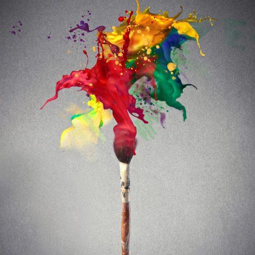 paint brush with multi-color paint