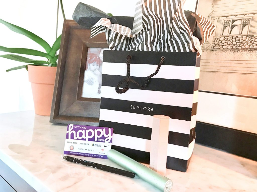Sephora bag, beauty products and Happy Teen gift card