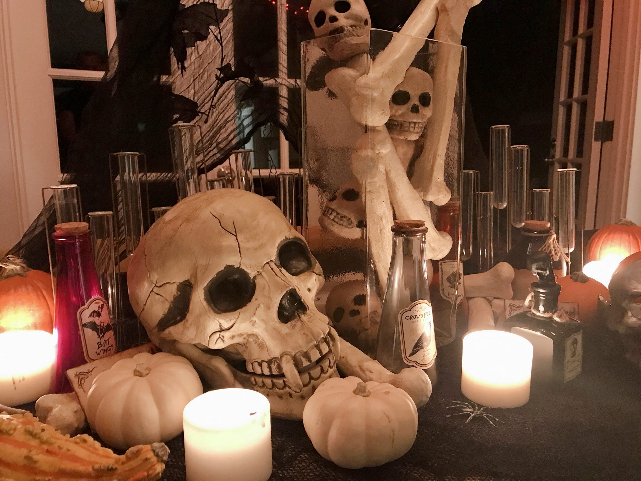 Skull Halloween table decor