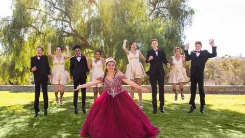 Quinceañera and her Court jumping