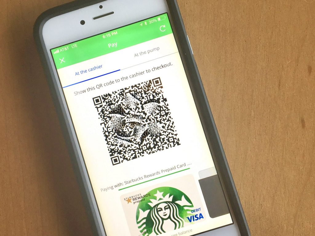 Starbucks QR code on phone