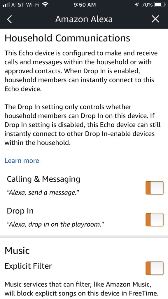 Amazon Alexa app household communications