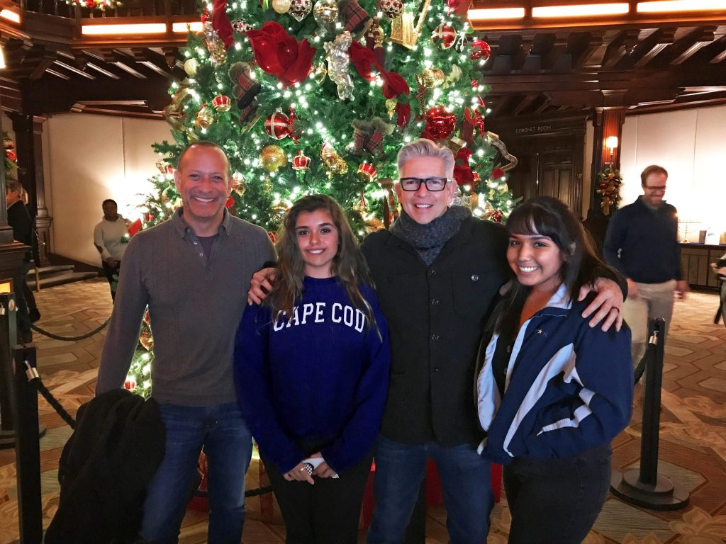 family with Christmas Tree at Hotel Del Coronado