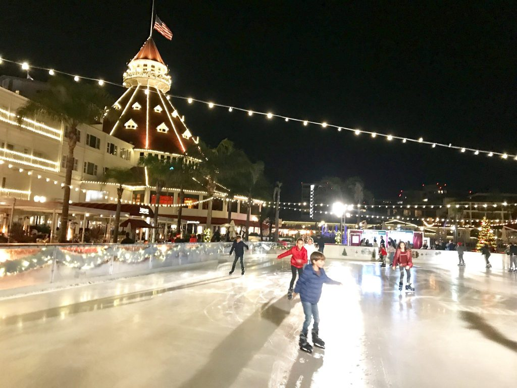 ice skating by the sea at the Hotel Del Coronado