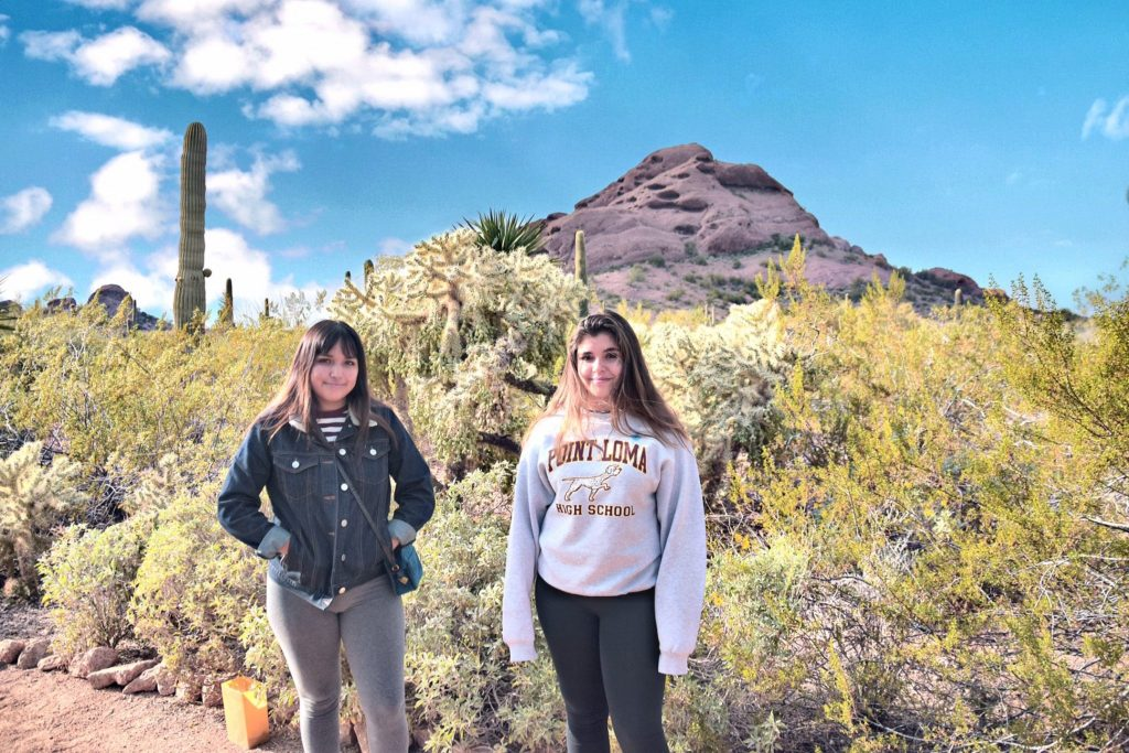 Teen girls at Desert Botanical Gardens Phoenix Arizona