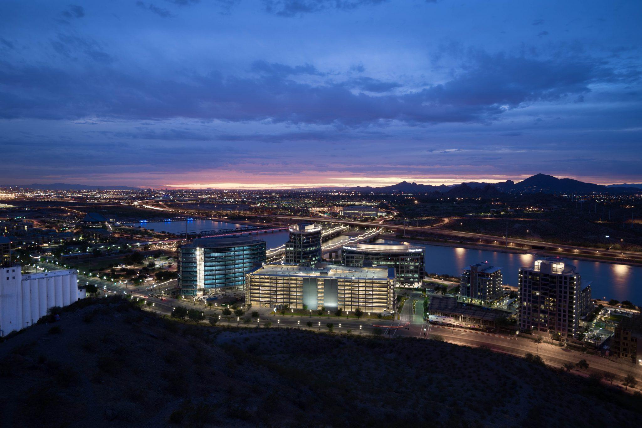night skyline view of Tempe Arizona
