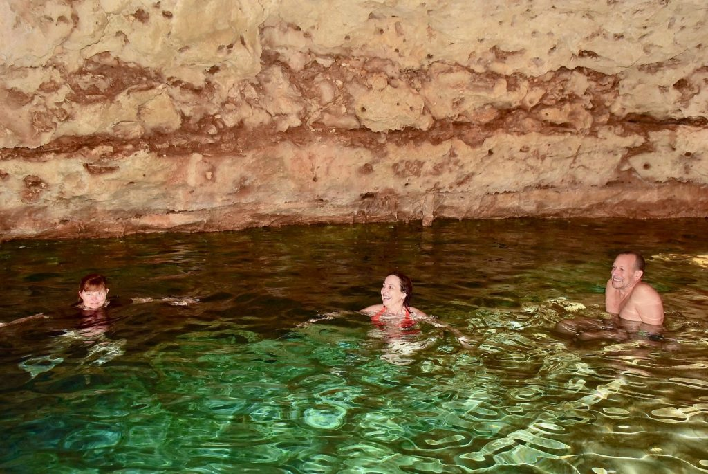 swimming at Mayan cenote underground
