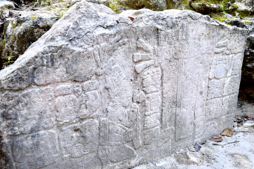 stone carvings at Coba Mayan ruins