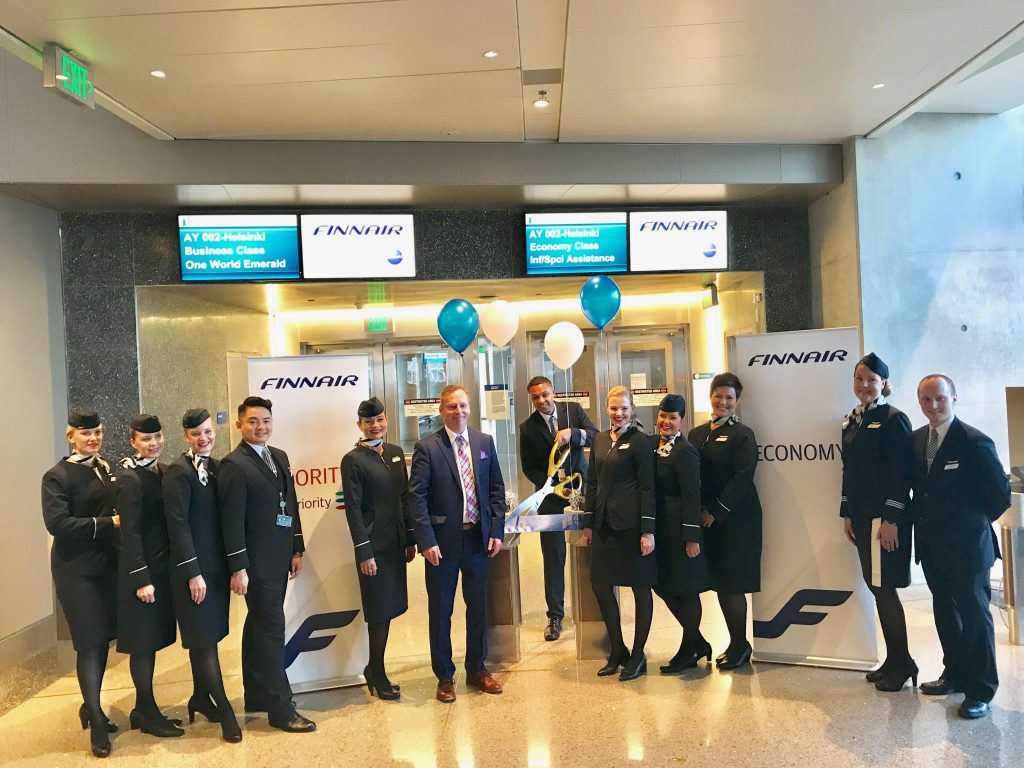 Finnair flight crew inaugural LAX