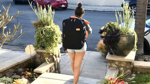 girl walking with Standard Luggage Carry-on Backpack