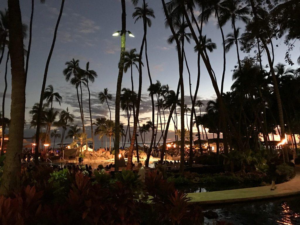 Hilton Hawaiian Village lobby view at night