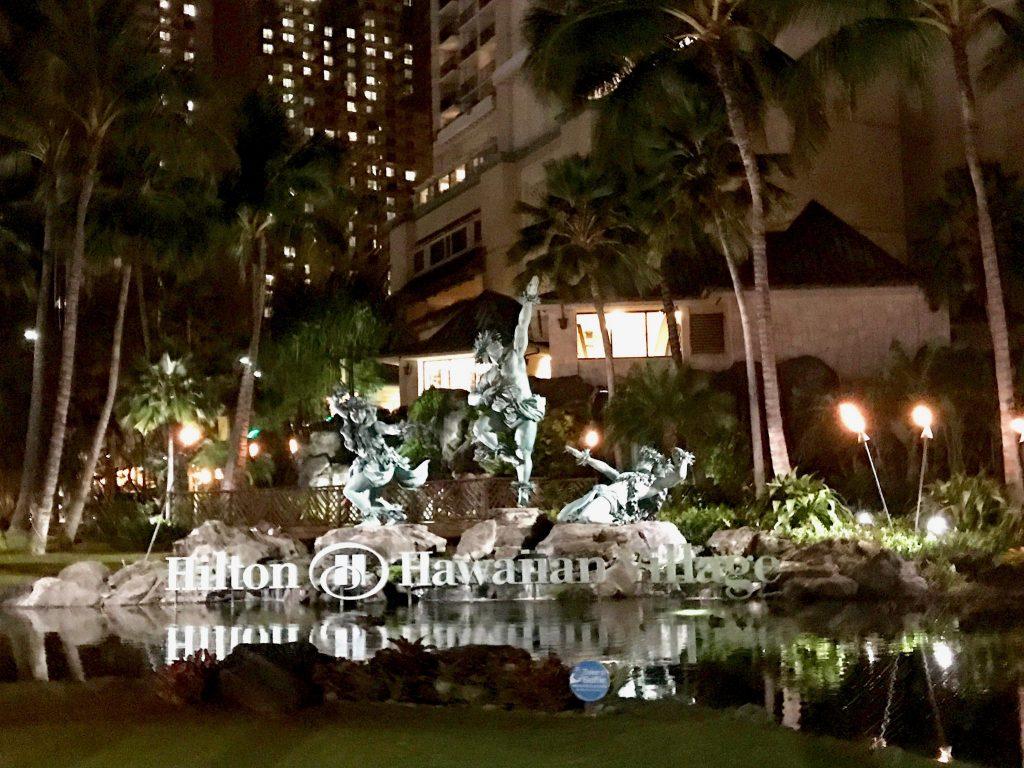 Hilton Hawaiian Village entrance night