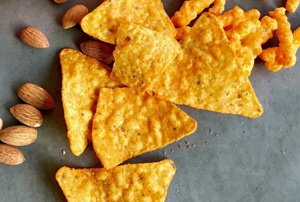 Doritos, almonds and cheese snacks