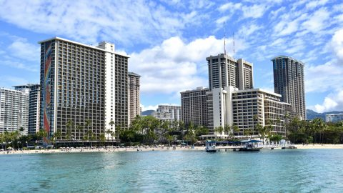 view of Hilton Hawaiian Village from water
