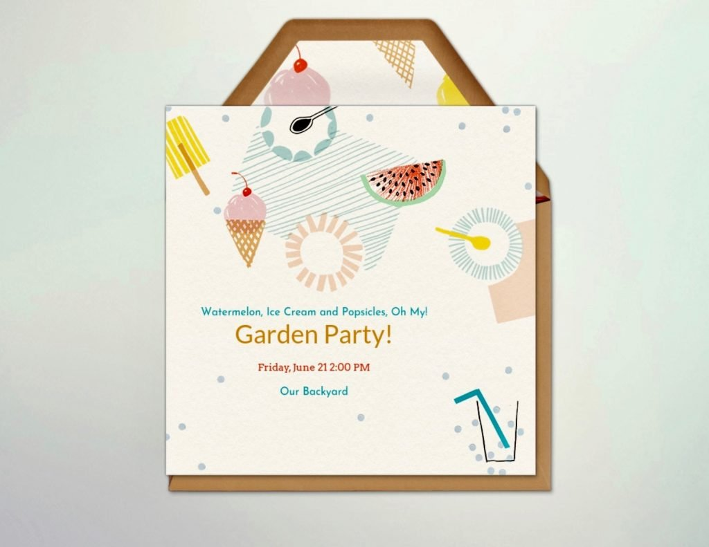 Evite invitation for garden party