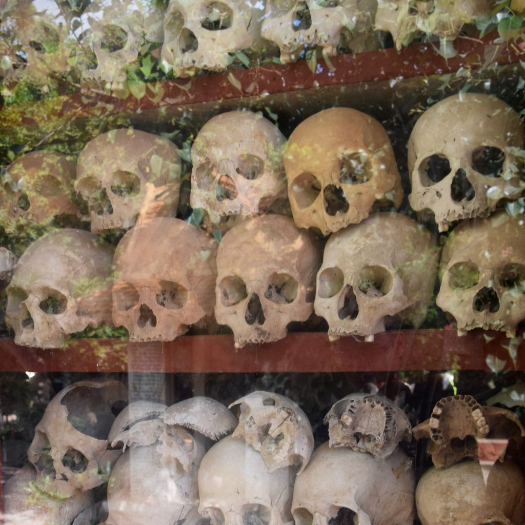 skulls on display at the killing fields near Siem Reap, Cambodia