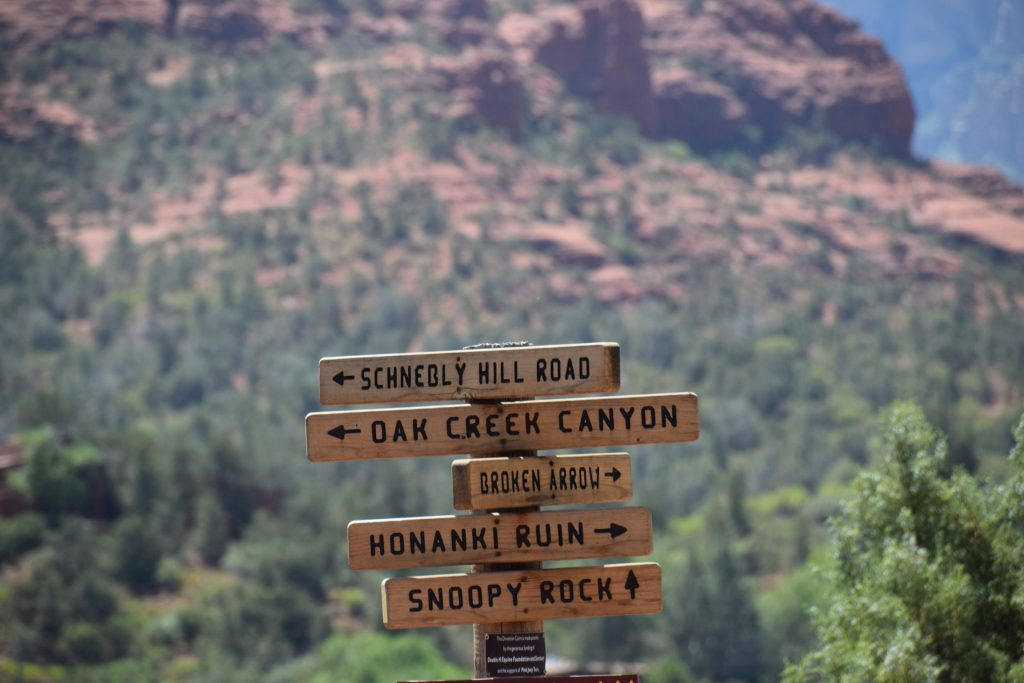 desert sign post in Sedona, Arizona