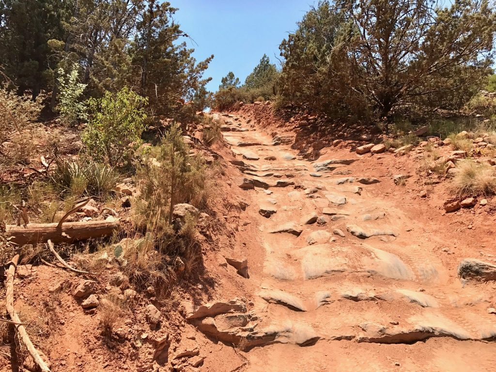 steep trail in Sedona desert