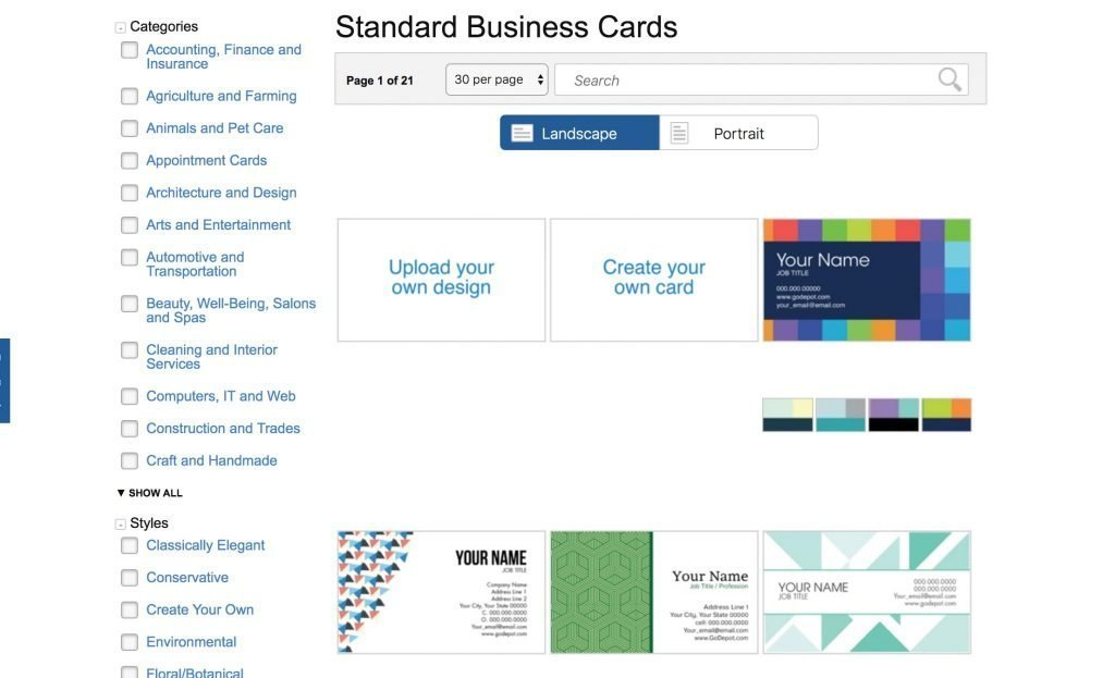 Create your own business card at Office Depot web page for Print & Copy Services